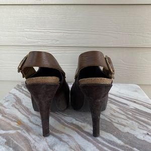Pedro Garcia Shoes - Pedro Garcia Brown Suede Open Toe Slingbacks Heel